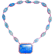 Art Deco Sterling Lapis Seed Pearls Marcasites Necklace