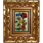 Limoges Enamel on Copper Miniature Picture Flowers