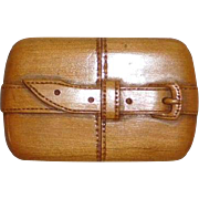 Match Safe carved wood figural belt buckle