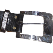 Massive Mexican Sterling Buckle on Leather Belt