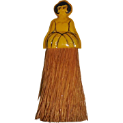 Celluloid Whisk Brush Art Deco Lady
