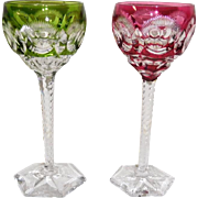 Pair Cut Glass Wedding Goblets, Cranberry, Green cut to clear
