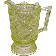 Vaseline Glass D and B with Crossbars Creamer EAPG