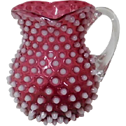 Hobbs Hobnail Cranberry Opalescent Toy Pitcher
