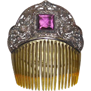 Victorian Hair Comb Purple Jewel Filigree