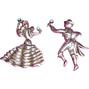 Vintage Mexican Sterling Two Pins, Dancers