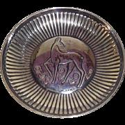 Swedish Silver Mid Century Modern Bowl with Deer Maker GAB