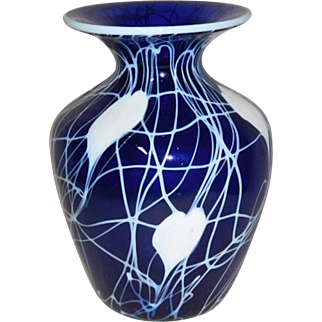Imperial Freehand Art Glass Hearts Vase