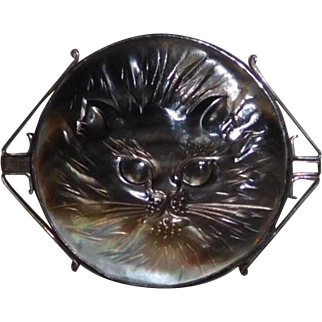 Long Hair Cat pin Sterling carved MOP Great Falls Metalworks