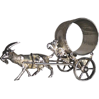 Figural Napkin RIng Goat pulling Cart Meriden