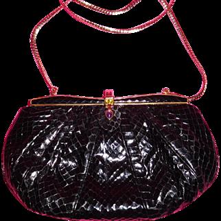 Judith Leiber Snakeskin evening purse with box