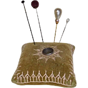 Old Velvet Thimble Holder Pincushion Sewing