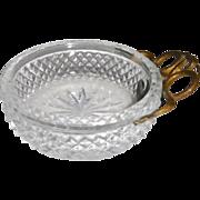 Wine Taster Tastevin Cut Glass Bronze snake handle