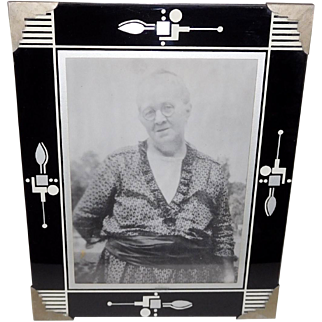 Art Deco Photo Frame Black Silver Stenciled Glass