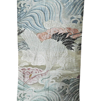 Japanese Obi Silk Brocade with Flying Cranes