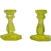 Toy Candlesticks N.E. Glass Co. Canary Flint  Vaseline