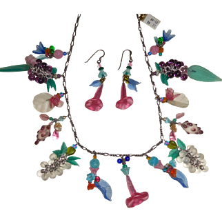 Lucy Isaacs Necklace & Earrings Glass Fruits Flowers