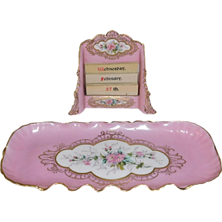 CAC Lenox Porcelain Hand Painted Desk or Vanity Accessories