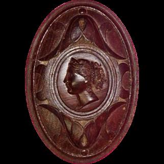 Curtain Tieback Hand Carved Wood Cameo Head