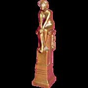 Bronze Nude on Pedestal Wax Seal, Antique