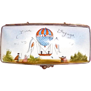 Porcelain Stamp Box with Hot Air Balloon Limoges