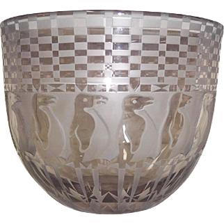 Gary Genetti Contemporary Glass Bowl Penguins