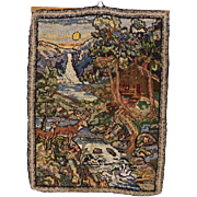 Vintage Hooked Rug for hanging Complex Landscape
