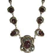 Vintage Mexican Sterling Amethyst Quartz Faces Necklace