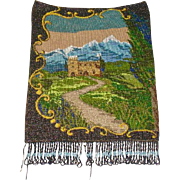 Victorian Beaded Purse Castle Scene Mountains