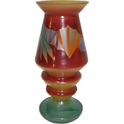 Czech Art Deco Painted Vase Abstract Design 1930
