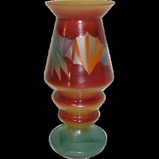 Czech Art Deco Painted Vase Abstract Design 1930