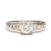 Art Deco 1920's .44 CARATS VS1 I Diamond 14K White Gold Engagement Ring