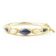 Vintage 14k Opal & Lapis Bangle Bracelet
