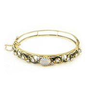 Vintage Jelly Opal Bangle Bracelet 14K Yellow Gold