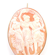 LARGE Three Graces Cameo Pendant Brooch 18k Gold