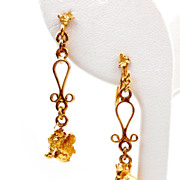 Vintage Venetian Scroll 24K Gold Nugget Dangle Earrings