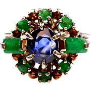 Mesmerizing Vintage Sapphire & Emerald Ring 14K White Gold