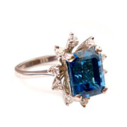 Luxurious Vintage Blue Topaz & Diamond Ring 14K White Gold