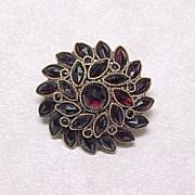 Victorian Bohemian Garnet Pin Marquise & Rose Cuts 9k Gold