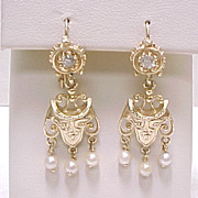 Victorian Ornate Dangle Earrings Pearl & Diamond 14k Gold