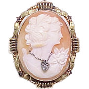 Habille Cameo Brooch / Pendant 10k Quad-Color Gold