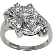Dazzling Art DECO Bypass DIAMOND Ring 14K White Gold