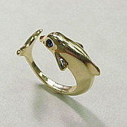 Vintage Dolphin Ring 14k Yellow Gold Blue Spinel Accent