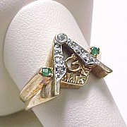 Vintage MASONIC Ring Diamond & Emerald Accent Unique Dimensional Design