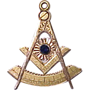Antique Masonic Pendant  14k  Gold & Sapphire