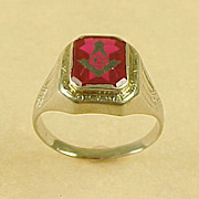 Vintage Masonic Ring Red Lodge 10K White Gold Circa 1930's