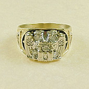 Vintage 32nd Degree 10K Two Tone Gold & Diamond Masonic Ring
