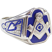 Enameled Blue Lodge 3rd Degree MASONIC Ring 10K WG Diamond Accent