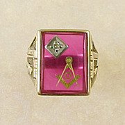 LARGE 3rd Degree MASONIC Ring Red Lodge 10K Gold