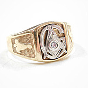 Vintage Masonic Ring 14k Two-Tone Gold Diamond Accent